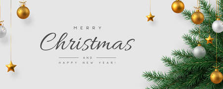 Christmas horizontal banner with realistic golden and white hanging baubles, metal stars and pine branches. White background. New Year vector illustration.