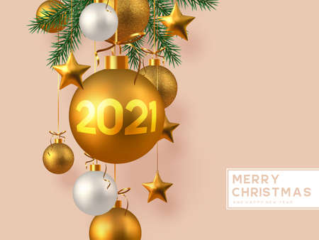 Christmas horizontal banner with realistic golden and white hanging baubles, metal stars and pine branches. Beige background. New Year vector illustration. Ilustracja