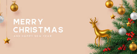 Christmas horizontal banner with golden balls, pine branches, holly berries and gold decorative deer. Beige background. New Year vector illustration. Ilustracja