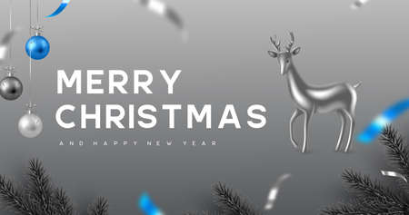 Christmas banner with hanging balls, pine branches and decorative deer. Monochrome grey colors with blue contrast. New Year vector illustration. Ilustracja