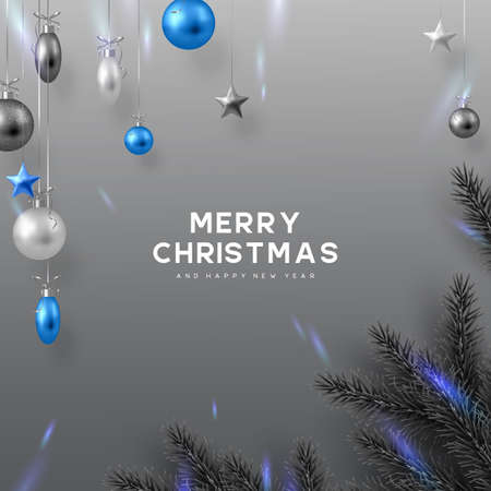 Christmas banner with hanging balls, pine branches and glowing lights. Monochrome grey colors with blue contrast. New Year vector illustration. Ilustracja