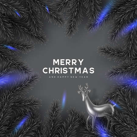 Christmas card with pine branches frame and decorative deer. Monochrome grey colors with blue glowing lights contrast. New Year illustration.