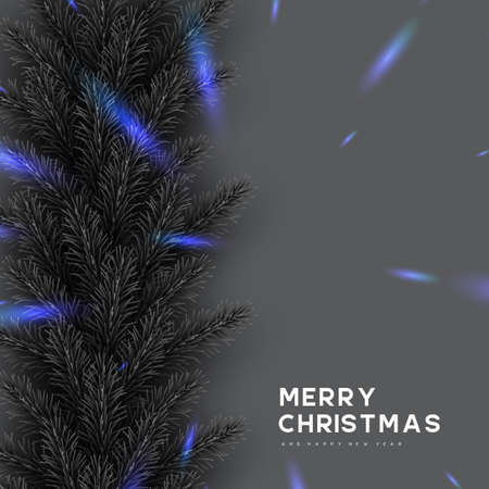 Christmas card with pine branches frame. Monochrome grey colors with blue glowing lights contrast. New Year illustration. Ilustracja