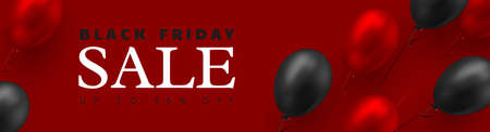 Black Friday sale banner. 3d red and black realistic glossy balloons. Red background. Vector illustration. Ilustracja