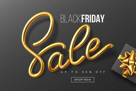 Black Friday typographic design. Handwritten metallic calligraphy sign Sale with gift box. Sale banner template. Vector.