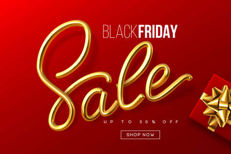 Black Friday typographic design. Handwritten metallic calligraphy sign Sale with gift box. Sale banner template. Red background. Vector. Ilustracja