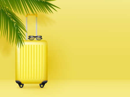 Suitcase with sunglasses and palm leaves on pastel yellow background. Summer holidays, vacation and travel minimal concept. Copy space. Vector. Ilustracja