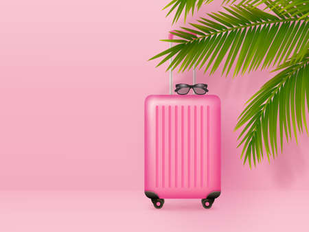 Suitcase with sunglasses and palm leaves on pastel pink background. Summer holidays, vacation and travel minimal concept. Copy space. Vector. Ilustracja