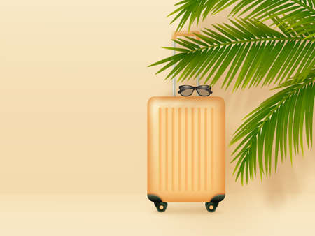 Suitcase with sunglasses and palm leaves on pastel orange background. Summer holidays, vacation and travel minimal concept. Copy space. Vector. Ilustracja