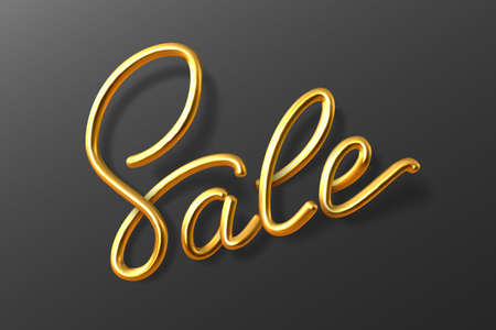 Realistic Sale sign. 3D hand writing calligraphy on black background. Golden Sale label. Vector illustration.