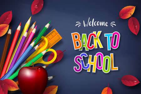 Back to school typography design with realistic school supplies, apple and autumn leaves. 3d text on chalkboard background. Vector illustration.