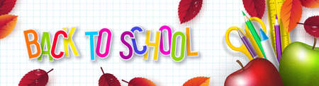 Back to school typography design with realistic school supplies, apples and autumn leaves. 3d text on checkered background. Vector illustration. Ilustracja