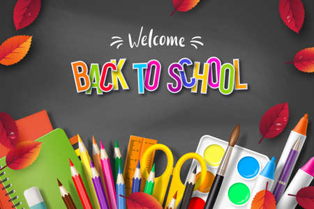 Back to school typography design with realistic school supplies and autumn leaves. 3d text on chalkboard background. Vector illustration. Ilustracja