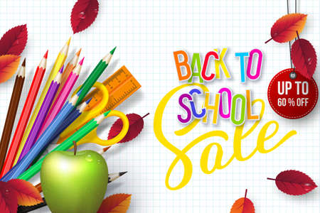 Back to school Sale banner with realistic school supplies, apples and autumn leaves. 3d text on checkered background. Discount label. Vector illustration. Ilustracja