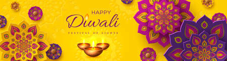 Diwali, festival of lights holiday banner with paper cut style of Indian Rangoli and diya - oil lamp. Purple color on yellow background. Vector illustration.