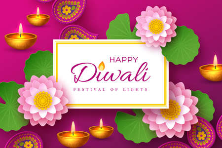 Diwali, festival of lights holiday banner with paper cut style of Indian Rangoli, diya - oil lamp and lotus flowers. Purple color background. Vector illustration.