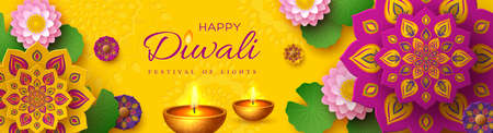 Diwali, festival of lights holiday banner with paper cut style of Indian Rangoli, diya - oil lamp and lotus flowers. Yellow color background. Vector illustration. Ilustracja