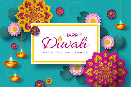 Diwali, festival of lights holiday banner with paper cut style of Indian Rangoli, diya - oil lamp and lotus flowers. Turquoise color background. Vector illustration. Ilustracja