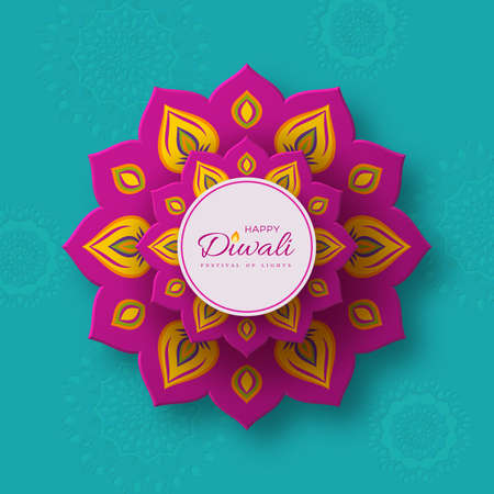 Diwali, festival of lights holiday banner with paper cut style of Indian Rangoli. Purple color on turquoise background. Vector illustration.