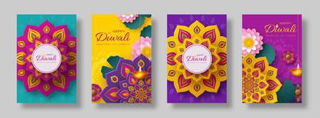 Diwali, festival of lights holiday cards with paper cut style of Indian Rangoli, diya - oil lamp and lotus flowers. Bright color background. Vector illustration. Ilustracja