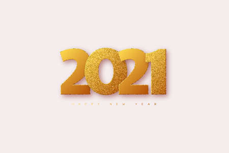 2021 New Year sign. 3d golden glitter with black numbers on black background. Vector illustration.