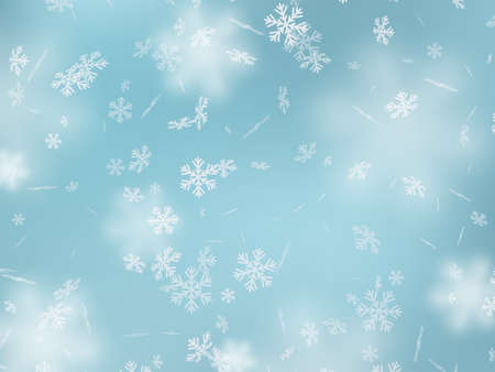 Falling snowflakes with blur effect. Winter snowy background. Vector illustration. Çizim