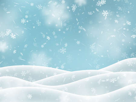 Falling snowflakes with snowdrifts, blur effect. Winter snowy background. Vector illustration.