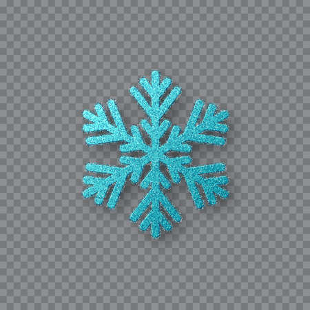 Glitter blue snowflake. Christmas decorative design element. Decoration for New Year holidays. Isolated on transparent background. Vector illustration.