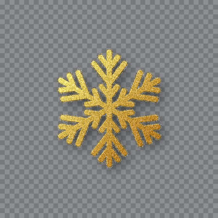 Glitter golden snowflake. Christmas decorative design element. Decoration for New Year holidays. Isolated on transparent background. Vector illustration. Çizim
