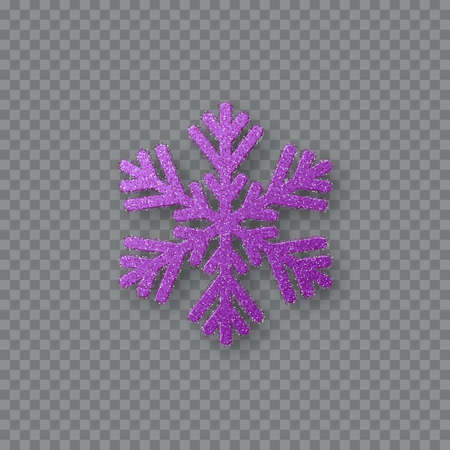 Glitter violet snowflake. Christmas decorative design element. Decoration for New Year holidays. Isolated on transparent background. Vector illustration.