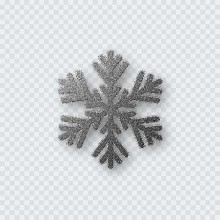 Glitter silver snowflake. Christmas decorative design element. Decoration for New Year holidays. Isolated on transparent background. Vector illustration.