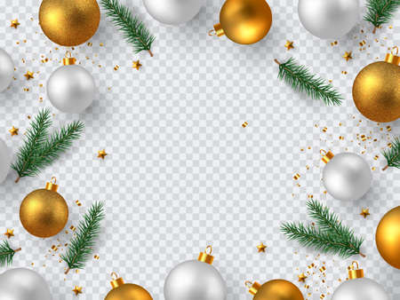 Christmas design elements. Decorative frame for New Year holidays. Isolated on transparent background with copy space. Vector illustration. Çizim