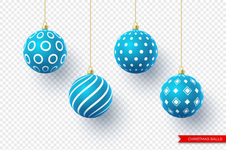 3d Christmas blue balls with geometric pattern. Decorative elements for holiday new year design. Isolated on transparent background. Vector illustration.