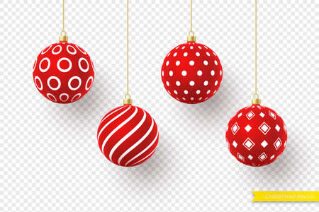 3d Christmas red balls with geometric pattern. Decorative elements for holiday new year design. Isolated on transparent background. Vector illustration.