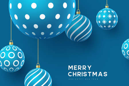 Christmas yellow balls with geometric pattern. 3d realistic style, abstract holiday background. Vector illustration.