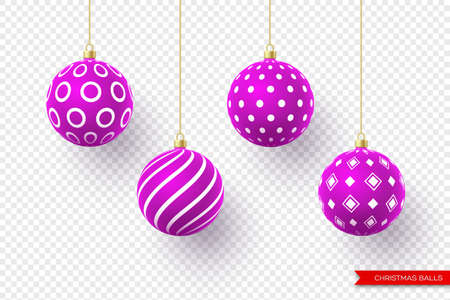 3d Christmas purple balls with geometric pattern. Decorative elements for holiday new year design. Isolated on transparent background. Vector illustration.