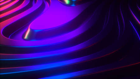 3d render wavy surface. Abstract waving background with neon ripples. Iridescent holographic liquid multicolor pattern, fluid shapes.