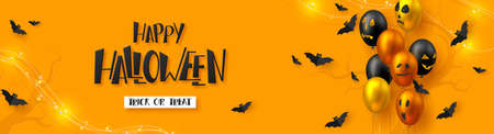 Happy Halloween horizontal banner. Glossy balloons with monster faces, flying bats and garland. Handwritten lettering, orange background. Vector illustration.