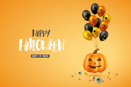 Happy Halloween horizontal banner. Glossy balloons with monster faces, pumpkin, eyes and candies. Handwritten lettering, orange background. Vector illustration. Çizim