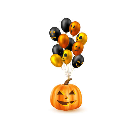 Halloween hanging pumpkin with glossy balloons. Monster faces. Isolated on white background. Vector illustration.