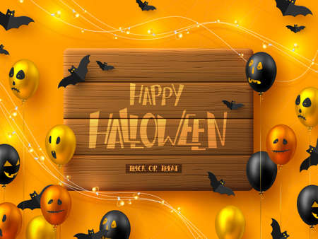 Happy Halloween horizontal banner. Glossy balloons with monster faces, flying bats and garland. Handwritten lettering on wooden plank, orange background. Vector illustration.