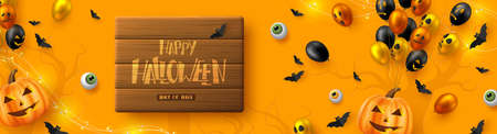 Happy Halloween horizontal banner. Glossy balloons with monster faces, pumpkins, flying bats and eyes. Handwritten lettering on wooden plank, orange background. Vector illustration. Çizim