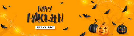 Happy Halloween horizontal banner. Pumpkins with monster faces, flying bats and garland. Handwritten lettering, orange background. Vector illustration. Çizim