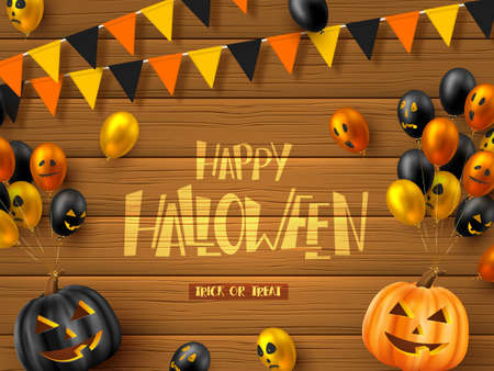 Happy Halloween horizontal banner. Glossy balloons with monster faces, pumpkins and bunting flags. Handwritten lettering on wooden background. Vector illustration.