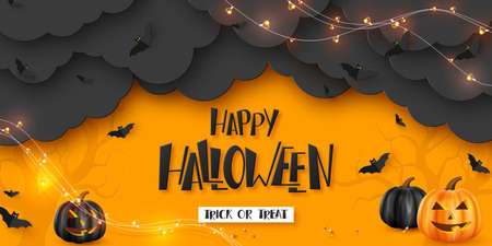 Happy Halloween horizontal banner. Pumpkins with monster faces, paper clouds, flying bats and garland. Handwritten lettering, orange background. Vector illustration.