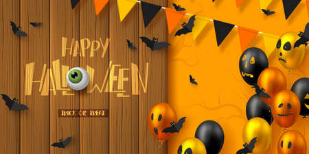 Happy Halloween horizontal banner. Glossy balloons with monster faces, flying bats and bunting flags. Handwritten lettering with eye on wooden plank, orange background. Vector illustration.