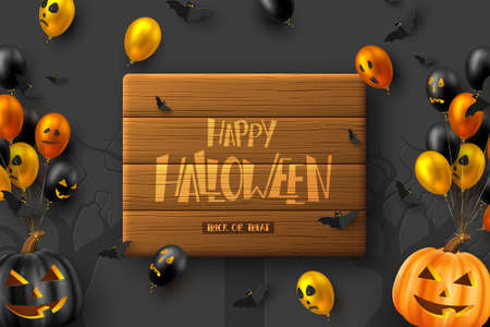 Happy Halloween horizontal banner. Glossy balloons with monster faces, flying bats and pumpkins. Handwritten lettering on wooden plank, dark background. Vector illustration.