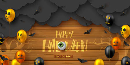 Happy Halloween horizontal banner. Glossy balloons with monster faces, flying bats and paper dark clouds. Handwritten lettering with eye on wooden background. Vector illustration. Çizim
