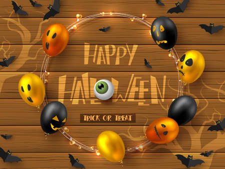 Happy Halloween horizontal banner. Glossy balloons with monster faces, flying bats and garland. Handwritten lettering with eye on wooden background. Vector illustration.