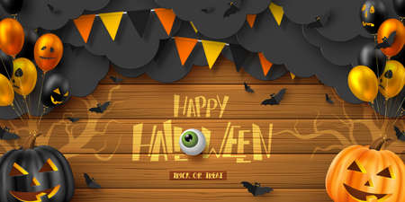 Happy Halloween horizontal banner. Glossy balloons with monster faces, pumpkins, flying bats and paper dark clouds. Handwritten lettering with eye on wooden background. Vector illustration.